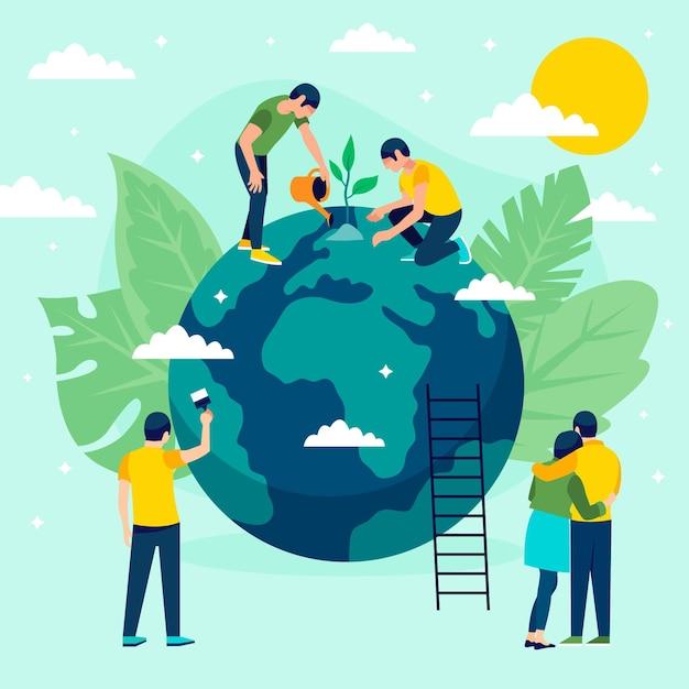 Zapisz Ilustrację Koncepcji Planety Z Ludźmi I Kulą Ziemską Premium Wektorów