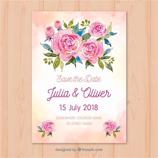 Zapisz kartę daty z kwiatami w stylu akwareli Darmowych Wektorów