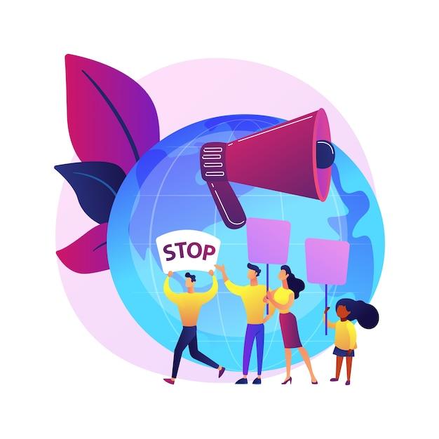 Zapisz Pomysł Na Planetę. Grupa Protestujących Ekologicznie. Demonstracja Ekologiczna, Ochrona Ekologii, Protest Ekologiczny. Ludzie Z Transparentami Protestują. Darmowych Wektorów