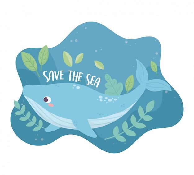 Zapisz Projekt Ekologii Kreskówki środowisko Wieloryba Morskiego Premium Wektorów