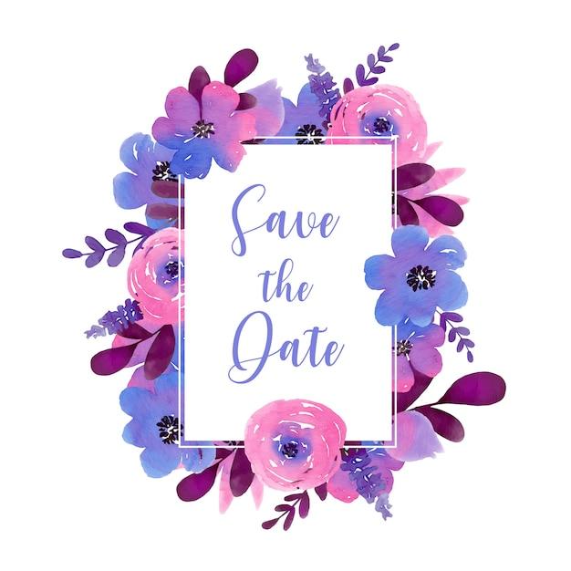 Zapisz ramkę prostokąta daty z fioletowymi ręcznie malowanymi kwiatami Darmowych Wektorów