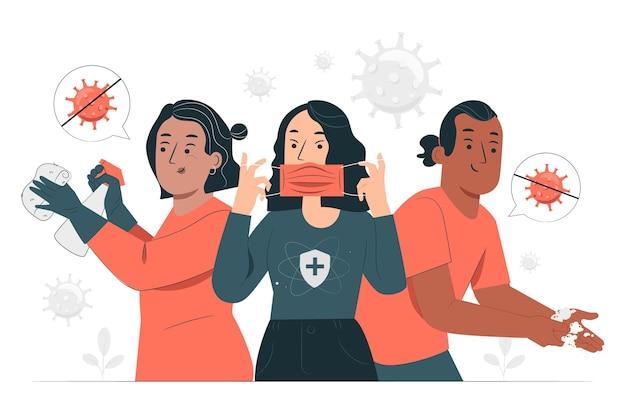 Zapobiegaj Ilustracji Koncepcji Odbicia Epidemii Darmowych Wektorów