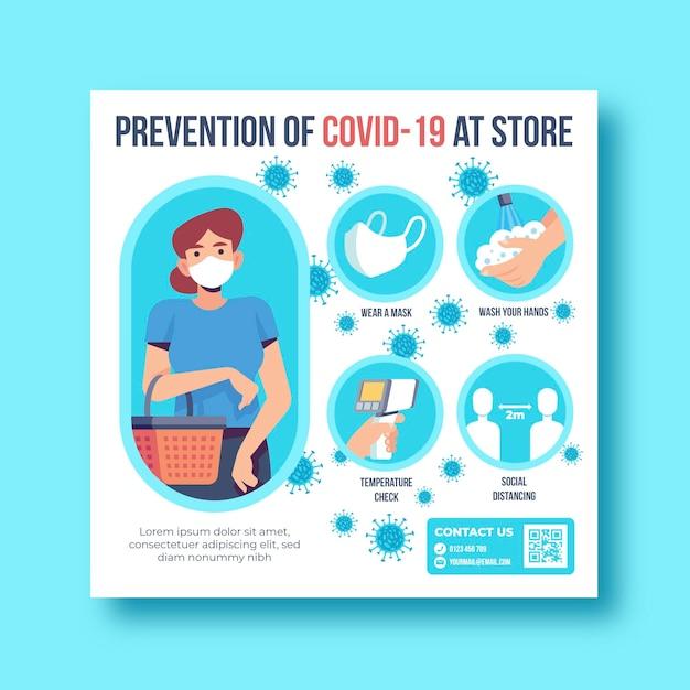 Zapobieganie Covid-19 Na Ulotce Sklepu Premium Wektorów