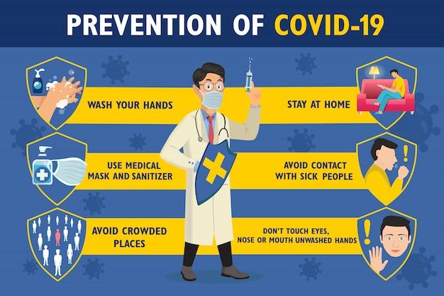 Zapobieganie Plakatowi Infograficznemu Covid-19 Z Lekarzem. Lekarz Trzyma Tarczę I Strzykawkę. Plakat Ochrony Koronawirusa Premium Wektorów