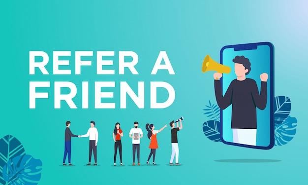 Zapoznaj się z koncepcją ilustracji wektorowych przyjaciela Premium Wektorów
