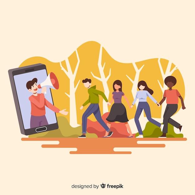 Zapoznaj się z koncepcją przyjaciela z ludźmi z kreskówek na zewnątrz Darmowych Wektorów