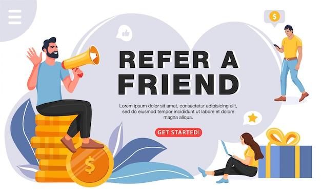 Zapoznaj się z koncepcją znajomego, szablon strony internetowej Premium Wektorów