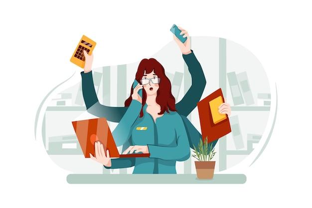 Zapracowana Pracownica Biura Ma Wiele Rzeczy Do Zrobienia Premium Wektorów