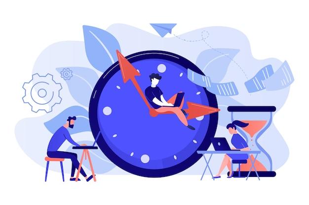 Zapracowani Biznesmeni Z Laptopami Spieszą Się Do Wykonania Zadań Przy Ogromnym Zegarze I Klepsydrze. Termin, Termin Projektu, Ilustracja Koncepcja Terminów Zadań Darmowych Wektorów