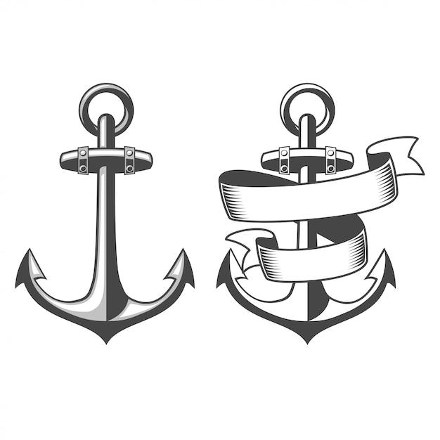 Zaprojektowane Kotwice Morskie Darmowych Wektorów