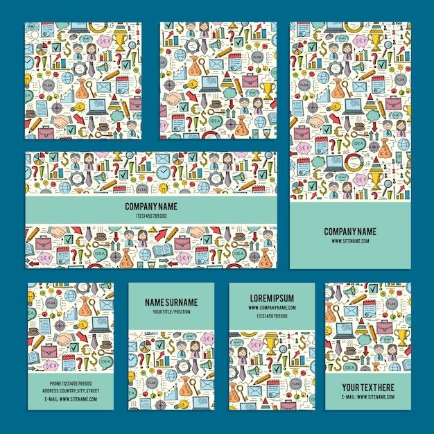 Zaprojektuj Identyfikację Wizualną Zestaw Na Temat Firmy Z Abstrakcyjne Gryzmoły. Premium Wektorów