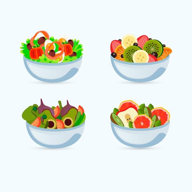 Zaprojektuj Miski Na Owoce I Sałatki Darmowych Wektorów