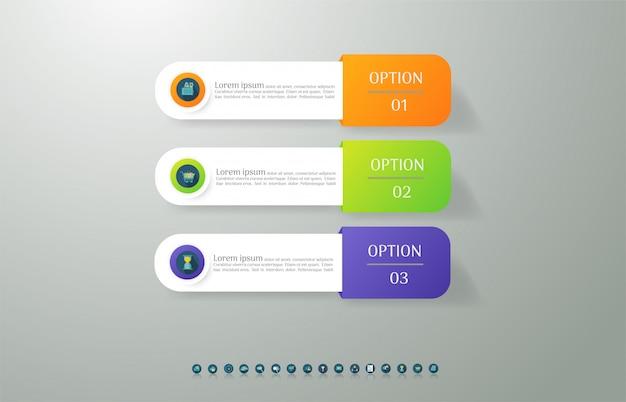 Zaprojektuj szablon biznesowy 3 opcje infographic dla prezentacji. Premium Wektorów