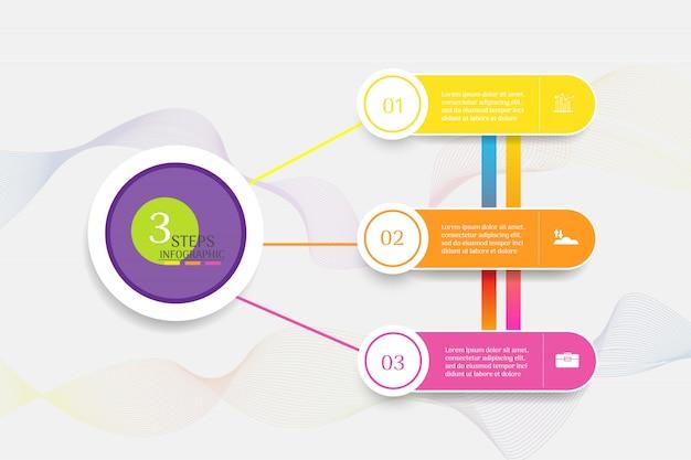 Zaprojektuj szablon biznesowy 3 opcje lub kroki infographic element wykresu. Premium Wektorów