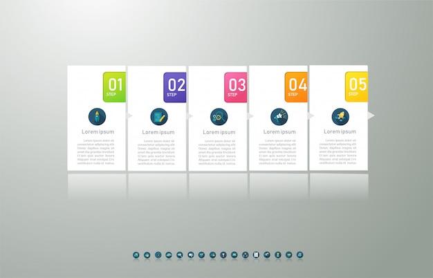 Zaprojektuj szablon biznesowy 5 opcji lub etapów element wykresu infographic. Premium Wektorów