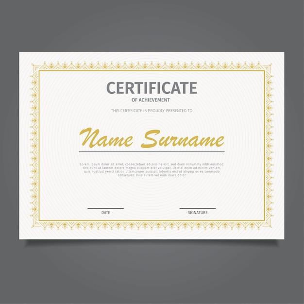 Zaprojektuj szablon certyfikatu klasycznego złota Premium Wektorów