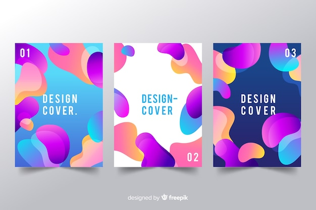 Zaprojektuj Szablon Okładki Z Kolorowym Efektem Płynnym Darmowych Wektorów
