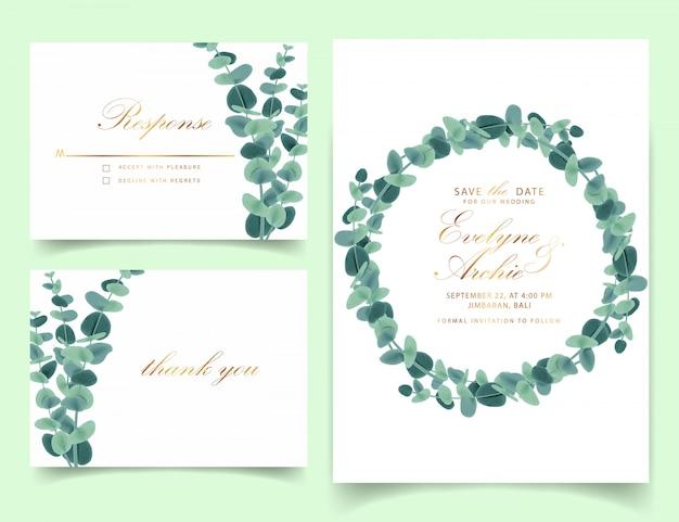 Zaproszenia ślubne Greenery Z Liści Eukaliptusa Wektor Premium