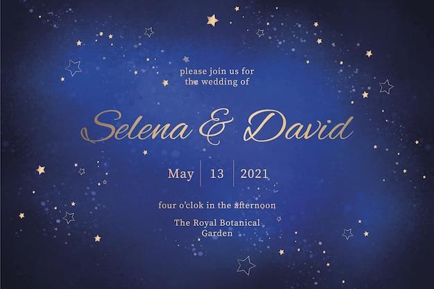 Zaproszenia ślubne Akwarela Galaktyki Darmowych Wektorów