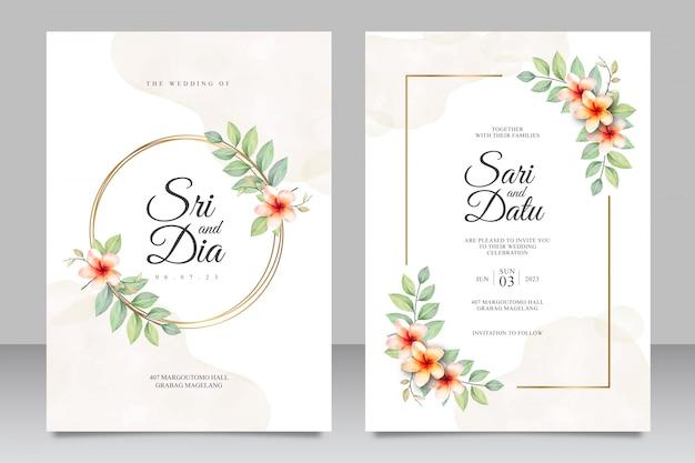 Zaproszenia ślubne akwarela kwiatowy zestaw szablonu ze złotą ramą Premium Wektorów