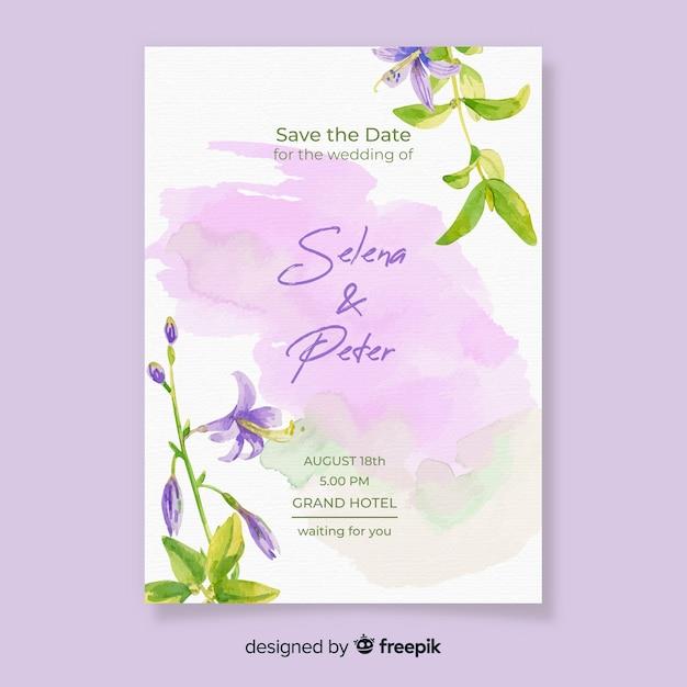 Zaproszenia ślubne akwarela z kwiatami Darmowych Wektorów
