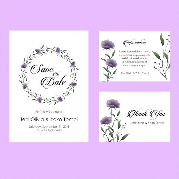 Zaproszenia ślubne fioletowy kwiat Premium Wektorów