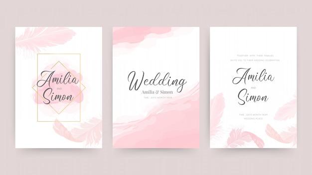 Zaproszenia ślubne i szablon projektu karty z pięknymi piórami. Premium Wektorów