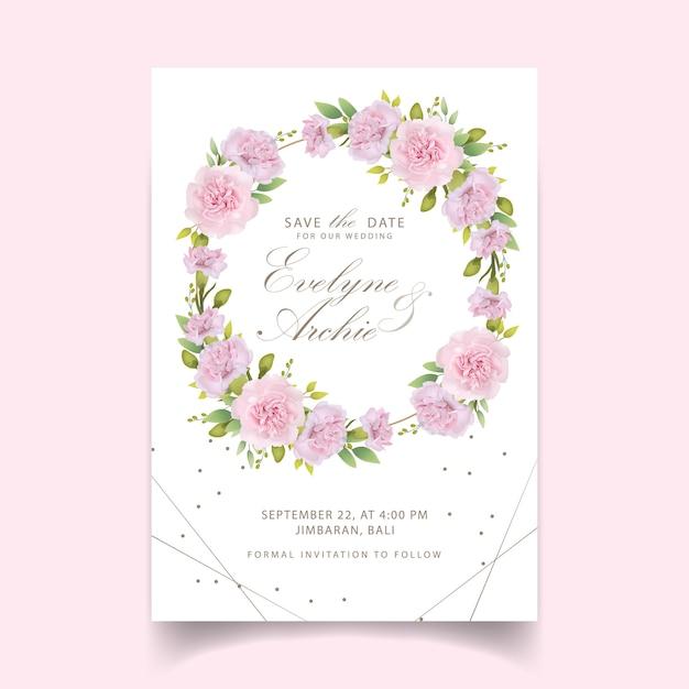 Zaproszenia ślubne Kwiatowe Różowe Goździki Premium Wektorów