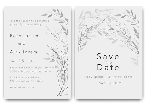 Zaproszenia ślubne Pozwalają Zapisać Projekt Karty Z Eleganckim Zawilcem Ogrodowym. Premium Wektorów