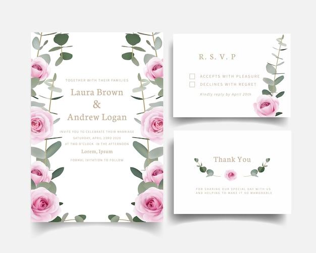 Zaproszenia ślubne Róże Kwiatowe I Liść Eukaliptusa Premium Wektorów