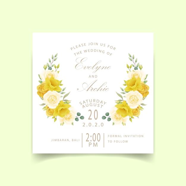 Zaproszenia ślubne Róże Kwiatowe I żonkile Premium Wektorów