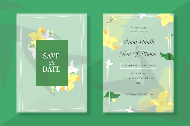 Zaproszenia ślubne Wiosenne Kwiaty Darmowych Wektorów