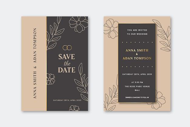 Zaproszenia ślubne Z Kwiatami Złoty Kontur Darmowych Wektorów