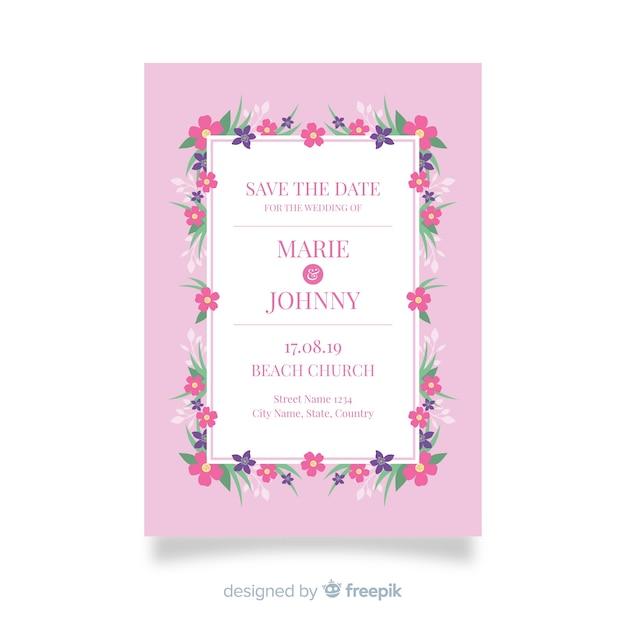Zaproszenia ślubne z kwiatowy szablon projektu Darmowych Wektorów