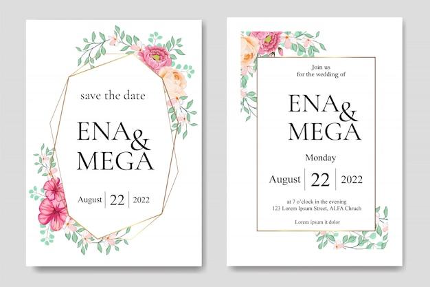 Zaproszenia ślubne z pięknych kwiatów liści Premium Wektorów