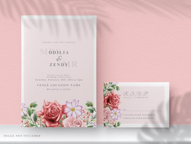 Zaproszenia ślubne Z Pięknymi, Ręcznie Rysowane Czerwone Kwiaty Premium Wektorów