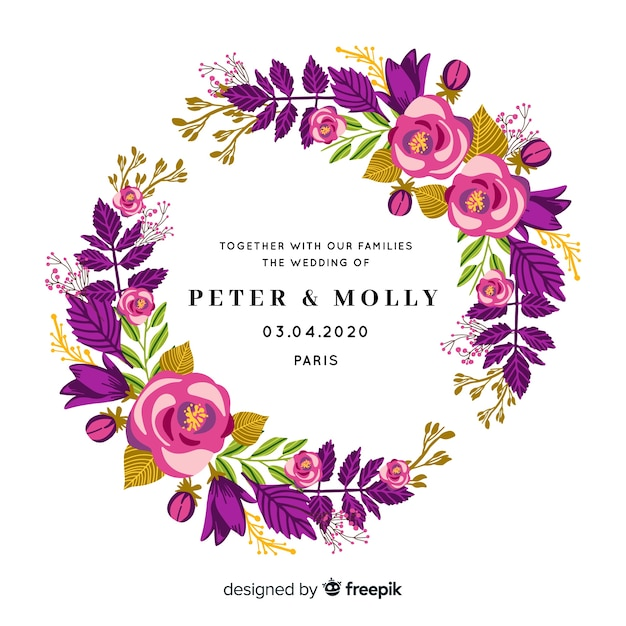 Zaproszenia ślubne z ramą róż Darmowych Wektorów