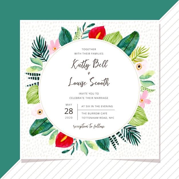 Zaproszenia ślubne z tropikalnych roślin akwarela ramki Premium Wektorów