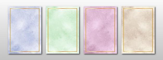 Zaproszenia ślubne Zestaw Kreatywnych Minimalistycznych Ręcznie Malowanych Abstrakcyjnych Akwareli Premium Wektorów