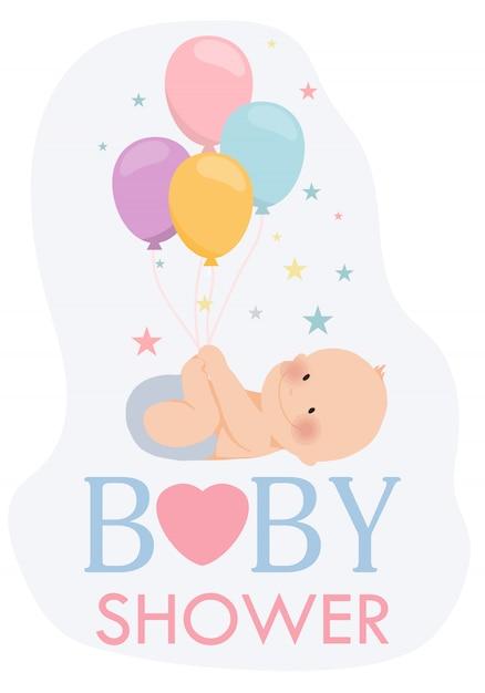 Zaproszenie cute baby shower Premium Wektorów