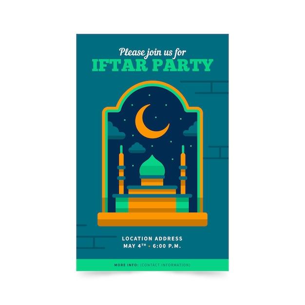 Zaproszenie Iftar Płaska Konstrukcja Darmowych Wektorów