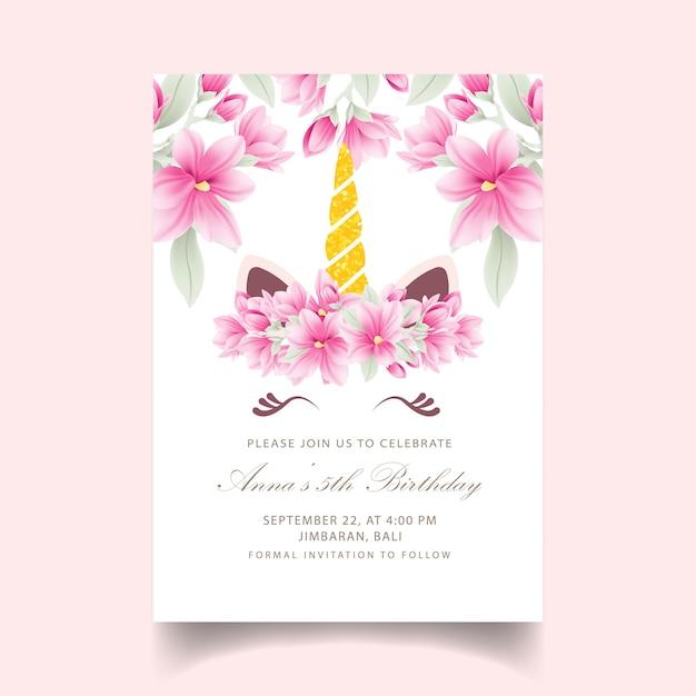 Zaproszenie kwiatowy dla dzieci urodziny z cute jednorożca Premium Wektorów