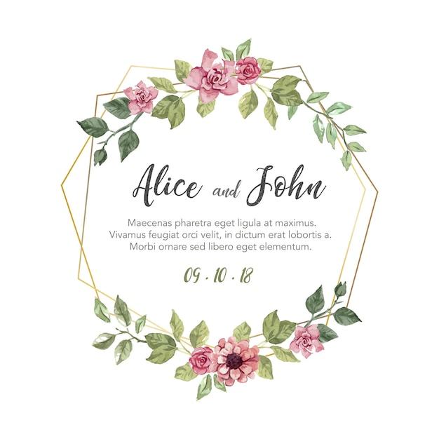 Zaproszenie na ślub kwiatowy Darmowych Wektorów