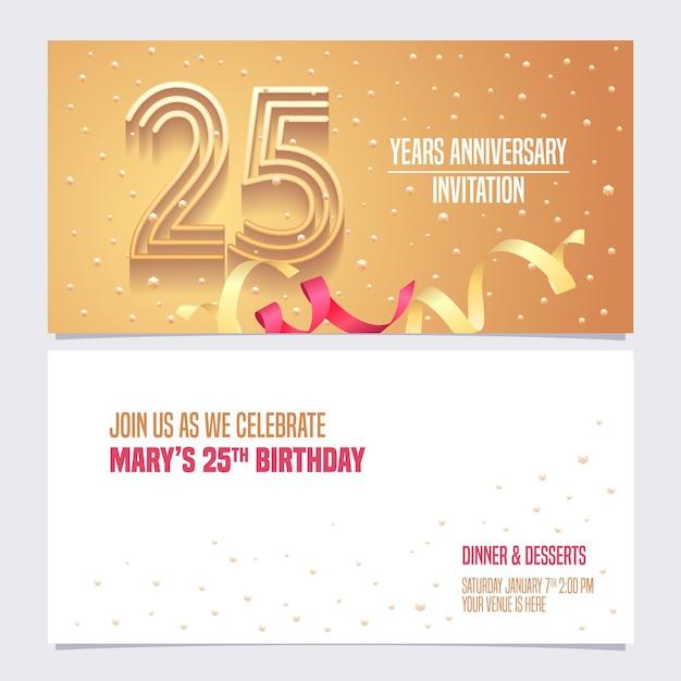 Zaproszenie Na 25-lecie. Premium Wektorów