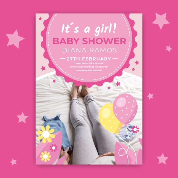 Zaproszenie Na Baby Shower Ze Zdjęciem Nóg Matki Darmowych Wektorów