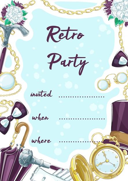 Zaproszenie na imprezę retro z elementami vintage akcesoriów dżentelmena. Premium Wektorów
