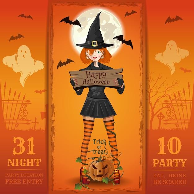 Zaproszenie Na Noc Halloween. Jedz, Pij, Bój Się. Premium Wektorów
