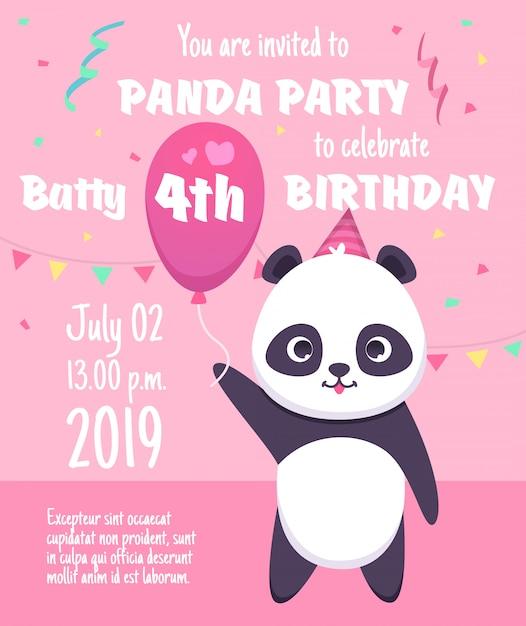 Zaproszenie Na Przyjęcie Dla Dzieci. Kartki Z życzeniami Z Postaciami Pandy Z Szablonem Plakatu Z Uroczymi Małymi Niedźwiedziami Premium Wektorów