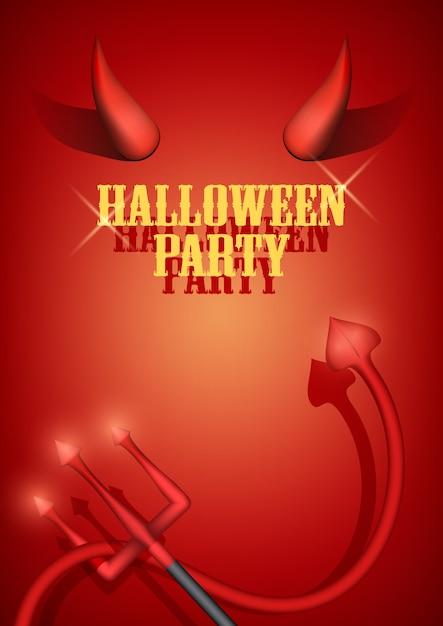 Zaproszenie Na Przyjęcie Halloween Z Rogami Diabła, Ogonem I Widelcem. . Premium Wektorów