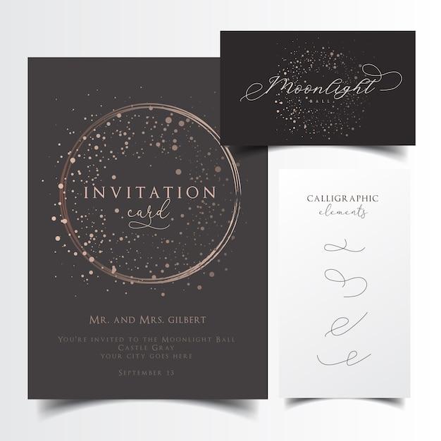 Zaproszenie na przyjęcie i projekt wizytówki z edytowalne elementy kaligrafii Premium Wektorów